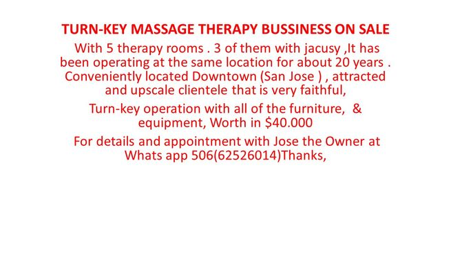 TURN-KEY MASSAGE THERAPY BUSSINESS ON SALE